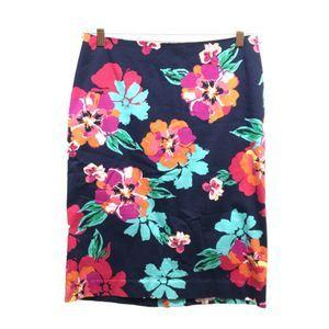 Talbots Black Floral Pencil Skirt 6